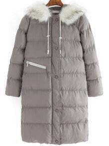 Grey Faux Fur Hooded Loose Down Coat