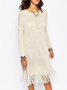 Beige Round Neck Split Tassel Sweater