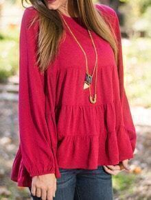 Red Round Neck Ruffle Loose Blouse