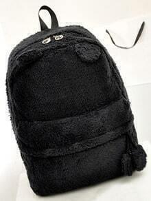 Black Faux Fur Cute Backpack