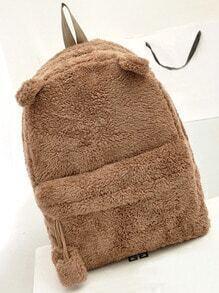 Brown Faux Fur Cute Backpack