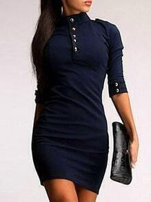 Navy Stand Collar Zipper Bodycon Dress