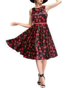 Black Red Sleeveless Cherry Print Dress