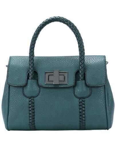 Green Weave Strap PU Tote Bag