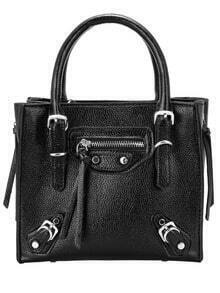 Black Buckle Zipper PU Tote Bag