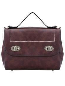 Brown Twist Lock PU Tote Bag