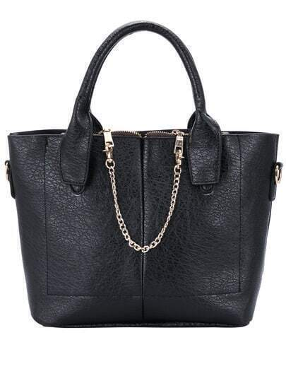 Black Chain Embellished PU Tote Bag