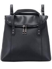 Black Zipper PU Backpack