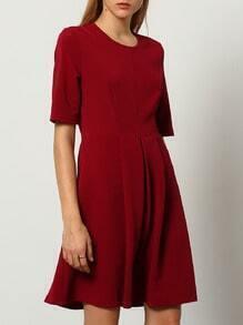 Burgundy Round Neck A Line Dress