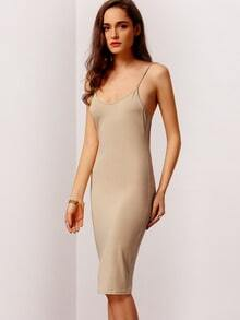 Beige Spaghetti Strap Sheath Dress