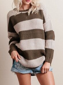 Apricot Round Neck Color Block Sweater