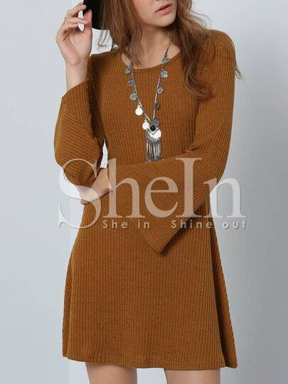 Brown Long Sleeve Round Neck Dress