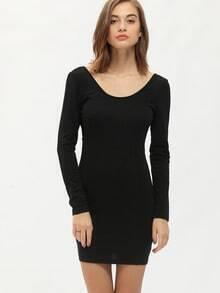 Black Long Sleeve Backless Dress