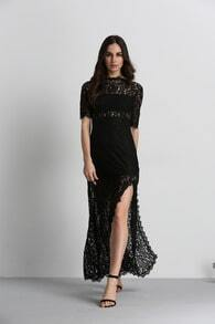 Black Half Sleeve Lace Split Maxi Dress