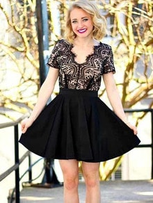 Black Short Sleeve With Lace Flare Dress