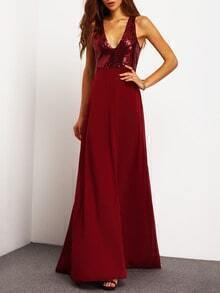 Burgundy Deep V Neck Sequined Maxi Dress