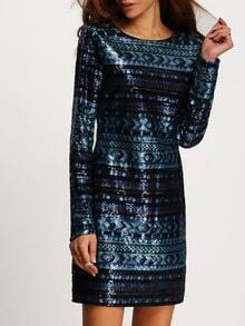 Blue Long Sleeve Sequined Bodycon Dress