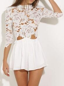 White Round Neck With Lace Dress