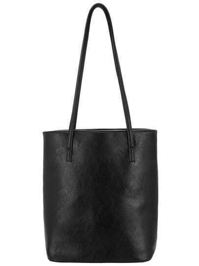 Black Classical PU Shoulder Bag