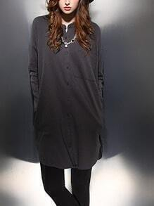Grey Stand Collar Single Breasted Trench Coat
