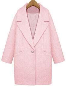 Pink Lapel Single Button Loose Woolen Coat