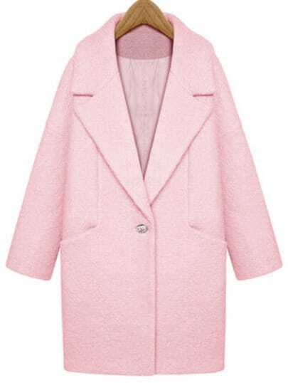 Pink Lapel Single Button Loose Woolen Coat