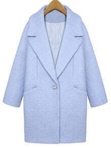 Blue Lapel Single Button Loose Woolen Coat