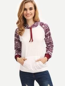 Colour Hooded Geometric Print Pockets Sweatshirt