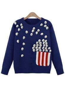 Blue Round Neck Twisted Ball Pocket Sweater