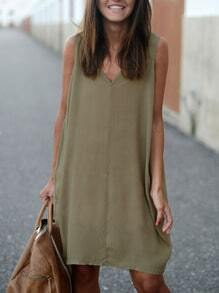 Coffee V Neck Sleeveless Loose Dress