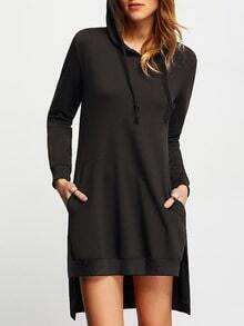 Black Hooded Long Sleeve High Low Dress