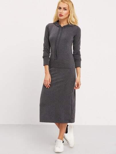 Dark Grey Hooded Long Sleeve Pockets Dress