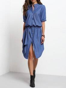 Blue Stand Collar Buttons Denim Dress