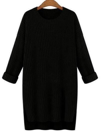 Black Round Neck Split Loose Sweater