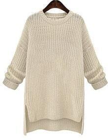 White Round Neck Split Loose Sweater