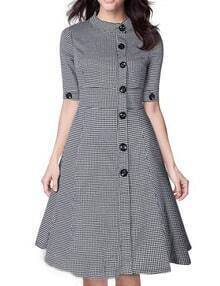 Black White Stand Collar Buttons Plaid Dress