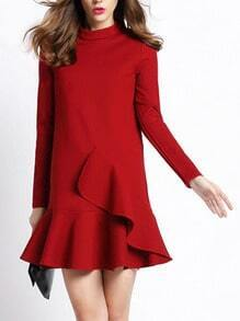 Red Stand Collar Ruffle Slim Dress