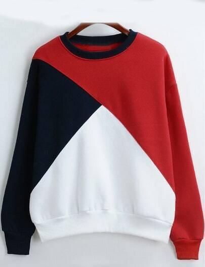 Colour-block Round Neck Loose Crop Sweatshirt