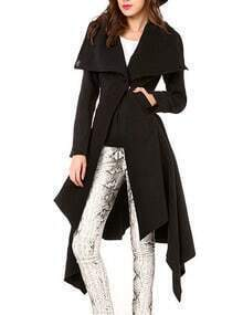Black Lapel Long Sleeve Woolen Coat