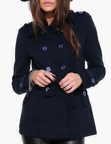 Navy Double Breasted Epaulet Woolen Coat