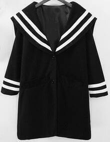 Black Single Breasted Striped Woolen Coat