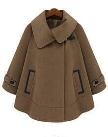 Brown Lapel Batwing Sleeve Loose Cape Coat