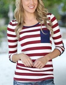Red White Round Neck Striped T-Shirt