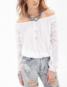 White Off the Shoulder Lace Chiffon Blouse
