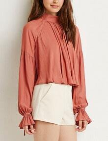 Pink Stand Collar Ruffle Crop Blouse