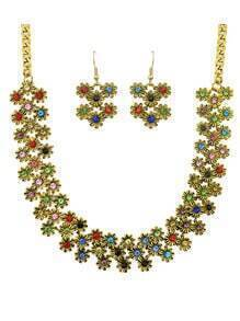 Colorful Enamel Flower Shape Necklace Earrings Set