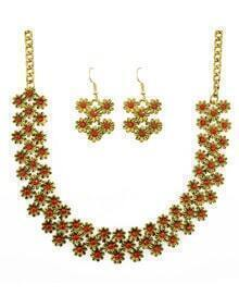 Red Enamel Flower Shape Necklace Earrings Set