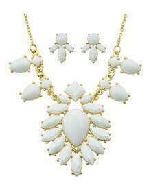 White Imitation Gemstone Statement Necklace Earrings Costume Jewelry Set