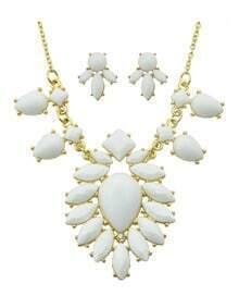White Imitation Gemstone Statement Necklace Earrings Costume Jewelry Set