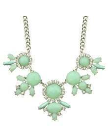 Blue Imitation Gemstone Flower Women Statement Necklace